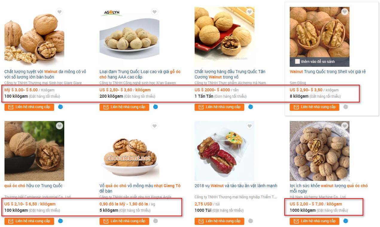 Giá óc chó Trung Quốc